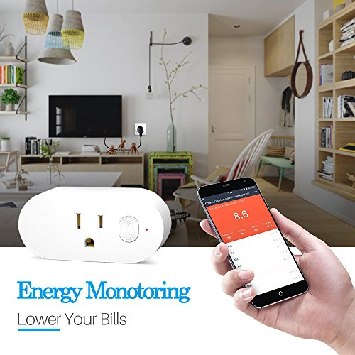 Wifi Smart Plug,Loneyshow Mini Smart Socket Work with Alexa/Echo dot Voice Control Timing Function Energy Monitoring No Hub Required Control Your Home from Anywhere for iOS Android Tablets(2 pack) by Loneyshow (Image #3)