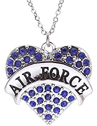 """Rhodium-Plated """"Army""""""""Air Force"""""""" Marines"""" Pendant Heart Female Necklace,18"""""""