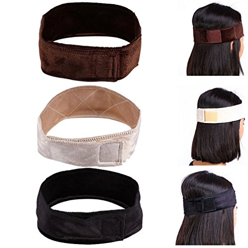 3 Pcs Wig Grip Flexible Velvet Headband Scarf Head Hair Band Extra Hold Wig Adjustable Fastern by - Headband Barrier