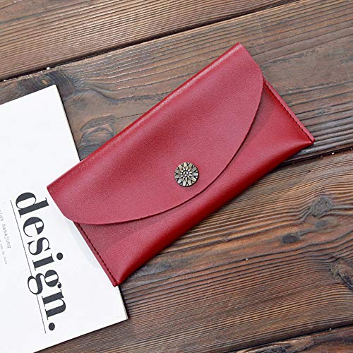 rouge Simple Dames Shanzwh Long Sac D'embrayage Portefeuille Rétro Porte monnaie Enveloppe Bandoulière qtxP7Z