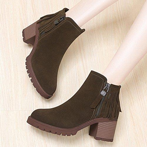 Demi Inconnu Femmes Talon Bottines Su Boots Chelsea Bloc xzztqr