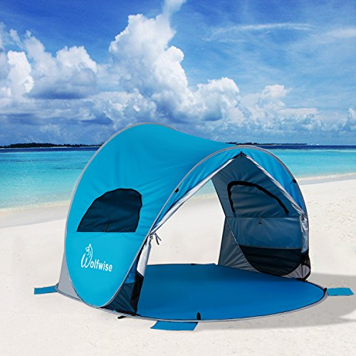 WolfWise UPF 50+ Easy Pop Up Beach Tent Instant Sun Shelter Tent Sunshade Baby Canopy & WolfWise UPF 50+ Easy Pop Up Beach Tent Instant Sun Shelter Tent ...