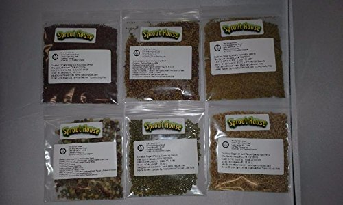The Sprout House Amazon Six - Assorted Organic Sprouting Seeds and Seeds Mixes Sample, Pack of 6 by The Sprout House