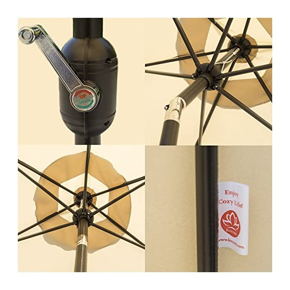 """Kozyard 9 Feet Patio Outdoor Umbrella with Push Button to Tilt/Crank, 100% Polyester, Steel Rib and Sturdy Aluminum Pole in Bronze Finish(Beige) - Crank open system making product simple to open and close, and pain free tilting capabilities 6 steel ribs for strong strength and 1.5"""" diameter aluminum center pole. Includes single wind vent for stability. (No base included) 160 gsm Solution-dyed polyester with color fastness lasts for 1000 hours. Powder Coated Frame - shades-parasols, patio-furniture, patio - 51elQKhGfPL. SS570  -"""