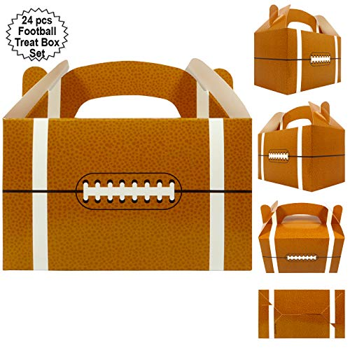 Football Themed Party Supplies (Football Party Treat Boxes | Team Favor Box with Handle (24 Pcs Set) | Football Party Supplies | Sports Theme Birthday Goody Boxes | By)