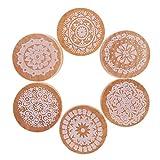 DECORA 6 Pieces Floral Pattern Round Wooden Rubber