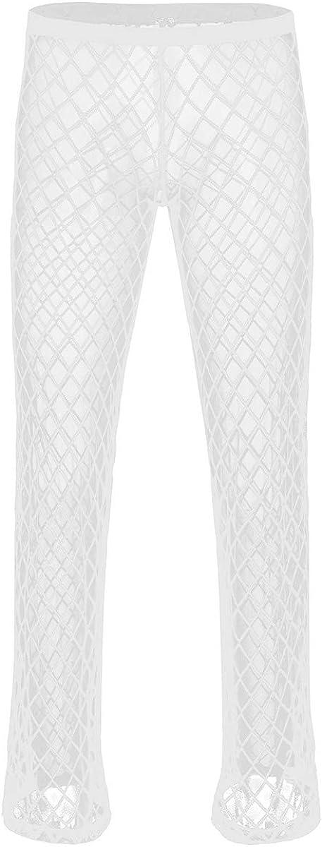 iEFiEL Men's Pajamas Soft Mesh See Through Sheer Home Lounge Pants Trousers Underwear Nightwear