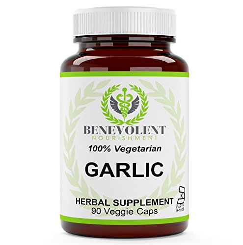 Garlic Supplement Pills – from Organic Bulb (Allium Sativum) for Your Health & Well Being – 500 mg Capsule – 100% Vegetarian & Gluten Free 90 Non GMO Powder Veggie Capsules – True Herbal Supplements