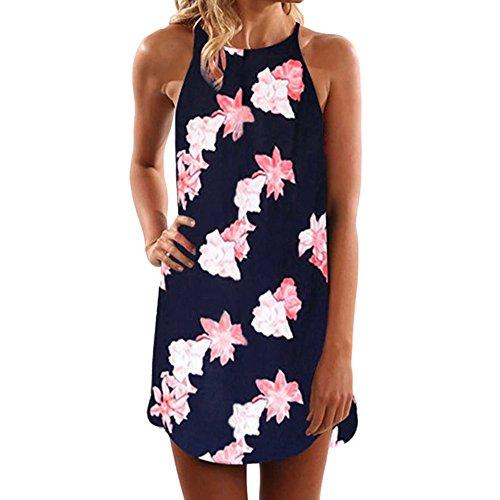 - FORUU Womens Girls Vintage Boho Summer Sleeveless Beach Printed Short Mini Dress (XL, Navy)