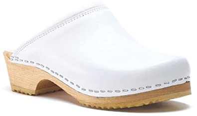 Toffeln Classic klog 020 Traditional Padded Antistatic Wooden Clogs - White
