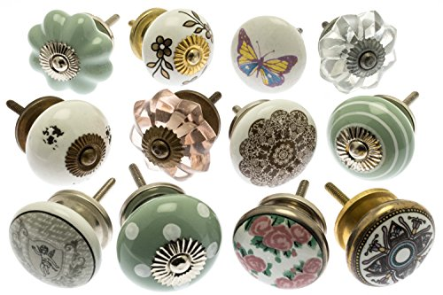 Hand Painted Shabby Chic Ceramic Cupboard Drawer Knobs with Clear and Antique Pink Glass and Moroccan Designs 1.5