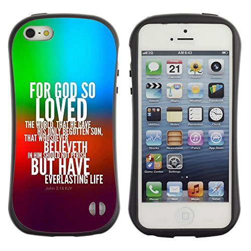 DREAMCASE Citation de Bible Silicone et Rigide Coque Protection Image Etui solide Housse T¨¦l¨¦phone Case Pour APPLE IPHONE 5 / 5S - JOHN 3:16 FOR GOD SO LOVED THE WORLD