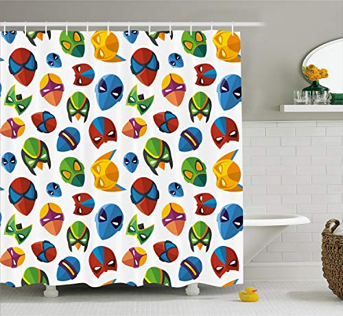 Ambesonne Superhero Shower Curtain, Legendary Cartoon Character Masks Flash Batman Spider-Man Comic Costume Print, Fabric Bathroom Decor Set with Hooks, 70 Inches, Multicolor]()