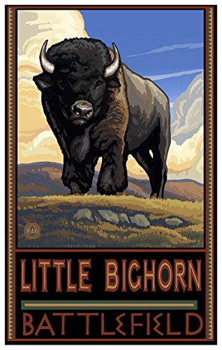Little Bighorn Battlefield South Dakota Buffalo Plains Giclee Travel Art Poster By Artist Paul A  Lanquist  12 X 18 Inch  Art Print For Bedroom  Family Room  Kitchen  Dorm Room Or Office Wall D Cor