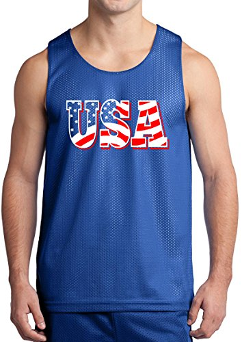 USA Tank Top Flag Letter USA Shirt United States of America Tank Roy S ()