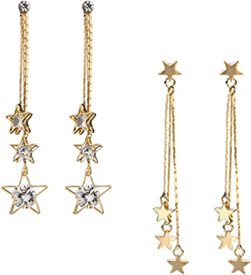 Star Shape Rhinestone Long Tassel Earrings Chain Dangle Ear Stud Pendant LH