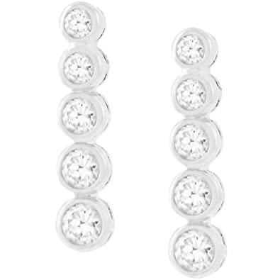 FB Jewels Solid Stainless Steel Polished CZ Cubic Zirconia Bezel Post Earrings