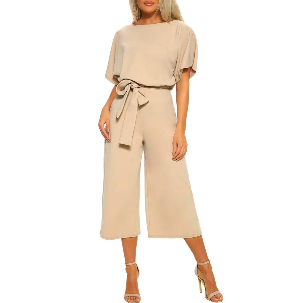 Women Casual Batwing Sleeve Crew Neck Long Pants Loose Wide Legs Jumpsuits Overalls With Belt Daorokanduhp