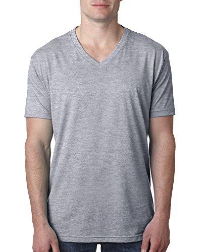 (Next Level Men's CVC Combed Baby Rib-Knit V-Neck T-Shirt, Dark Hthr Gray, XL)