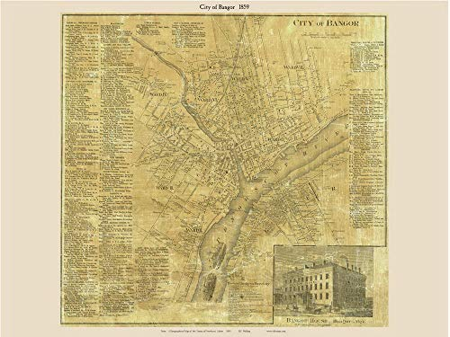 Bangor City 1859 Old Town Map with Homeowner Names Maine - Reprint Genealogy Penobscot County ME TM (A Map Of Maine With Towns And Cities)