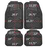 OxGord 4pc Set Tactical Heavy Duty Rubber Floor Mats - Black