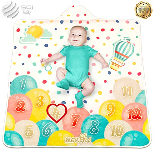 """Price comparison product image 2 in 1 - Baby Milestone Blanket - Organic Hooded Towel – Unisex Unique Monthly Blanket - Newborn Gift – 47"""" x 47"""""""