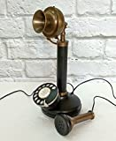 Decorative Brass & Iron Antique Reproduction Rotary Dial Candlestick Telephone