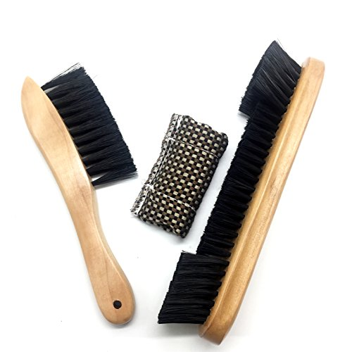 able Rail Brush Wooden Handle Nylon Bristles Set with Cue Shaft Slicker Cloth Oak Finish Wood (Billiard Table Brush)