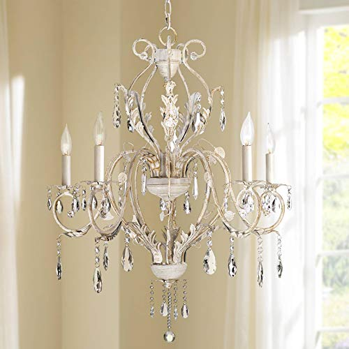 Kathy Ireland Devon 5-Light Antique White Crystal Chandelier Arm White Flower Crystal Chandelier