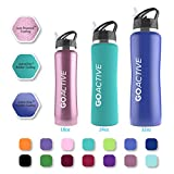 GO Bottles Stainless Steel Insulated Water Bottle with Flip Straw and Sweat-Proof Rubber Grip, 24 oz