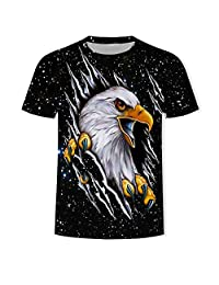Lnicesky-independence Day Men's Summer Fashion 3D Print Cool Milk Silk Short Sleeve Top