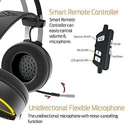 GAMDIAS Gaming Headset with 7.1 Virtual Surround Sound, Inline Remote, RGB Lighting  & USB Extension Jack (HEBE M1)