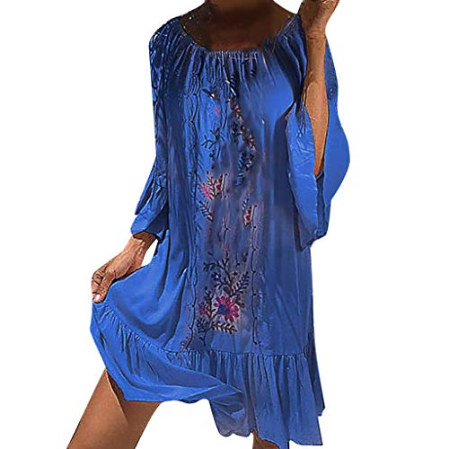 (Willow S Fashion Summer Women Casual Loose Round Neck Short Sleeve Shift Dress Beach Bohemia Dress)