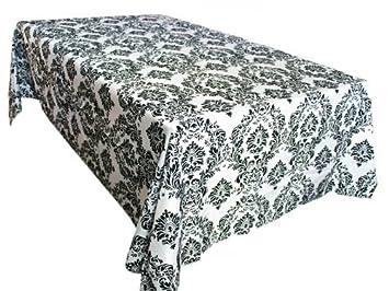 LA Linenu0026#8482; 60x126 Inch Damask Flocking Taffeta Rectangular Tablecloth,  Black On