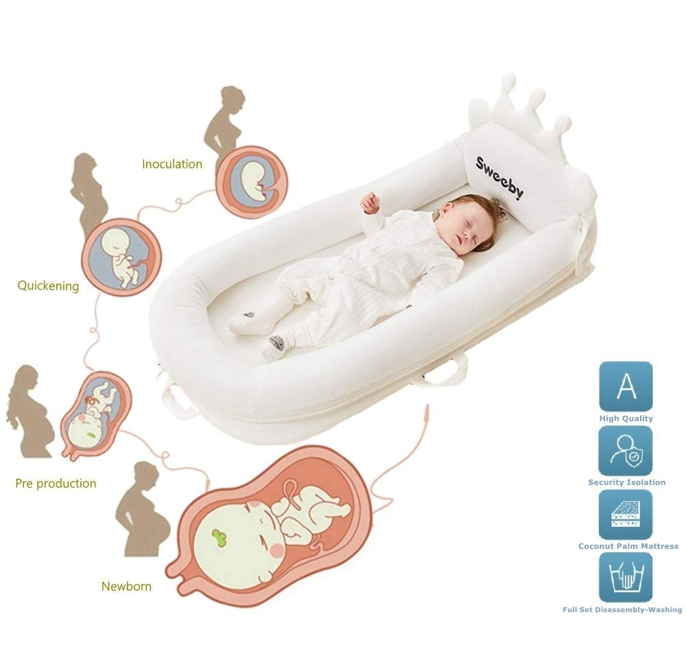 Baby Bedding Sleeping Basket for Baby Girl Boy Multifunctional Portable Crib Baby Gifts for Newborn Anti-Pressure Bionic Bed Travel Baby Cots Coconut Palm Infant Mattre, Anti-Spitting Milk Design