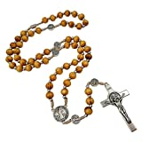 Talisman4U 8mm Wooden Beads BLESSED CATHOLIC ROSARY NECKLACE St Saint Benedict Medal Crucifix Blue Rosary Pouch Made in Italy