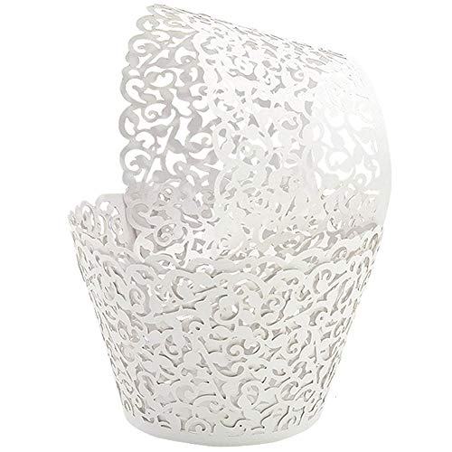 GOLF 100Pcs Cupcake Wrappers | Artistic Bake Cake Paper Filigree Little Vine Lace Laser Cut Liner Baking Cup Wraps Muffin CaseTrays for Wedding Party Birthday Decoration (White)