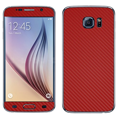 Decalrus - Samsung Galaxy S6 (Note: NOT Edge version) RED Texture Carbon Fiber skin skins decal for case cover wrap CFgalxyS6Red