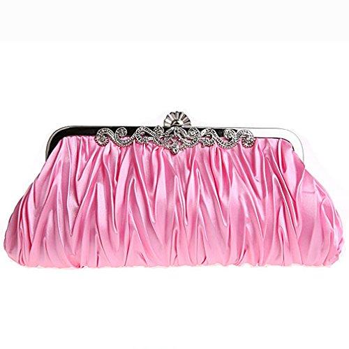 Belsen Women's Wedding Kiss Lock Pleated Satin Evening Bags (Pink) by Belsen