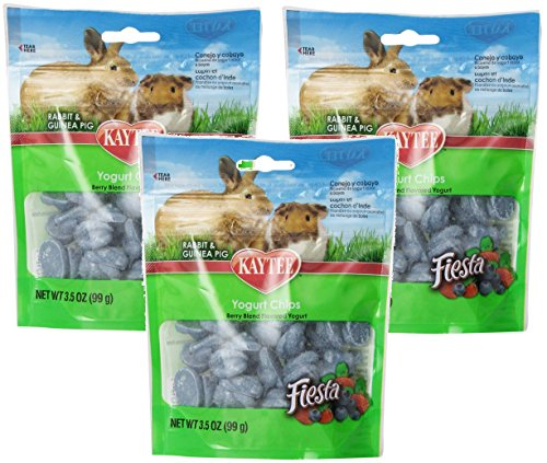 Kaytee 3 Pack Of Fiesta Mixed Berry Yogurt Chips for Rabbit and Guinea Pig, 3.5-Ounce Per ()