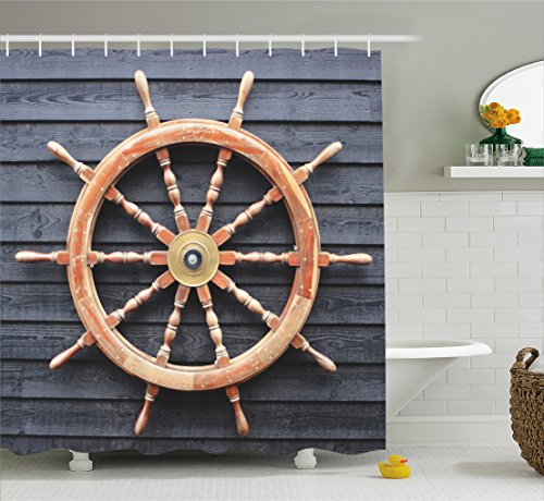 Captain Control (Ambesonne Ships Wheel Decor Collection, Old Trawler Steering Wheel Captain Direction Control on Hardwood Timber Wall, Polyester Fabric Bathroom Shower Curtain, 84 Inches Extra Long, Charcoal Camel)