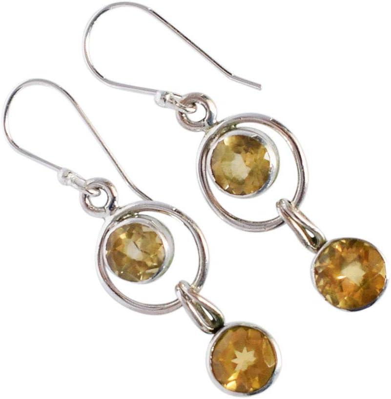 Pendientes de cuarzo citrino con piedras preciosas, plata de ley 925 maciza, hechos a mano, joyería para mujer, pendientes para niñas FSJ-3545