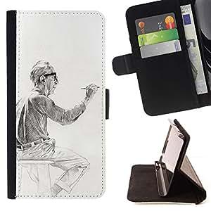 Momo Phone Case / Flip Funda de Cuero Case Cover - Man Peinture Dessin - Samsung Galaxy J3 GSM-J300