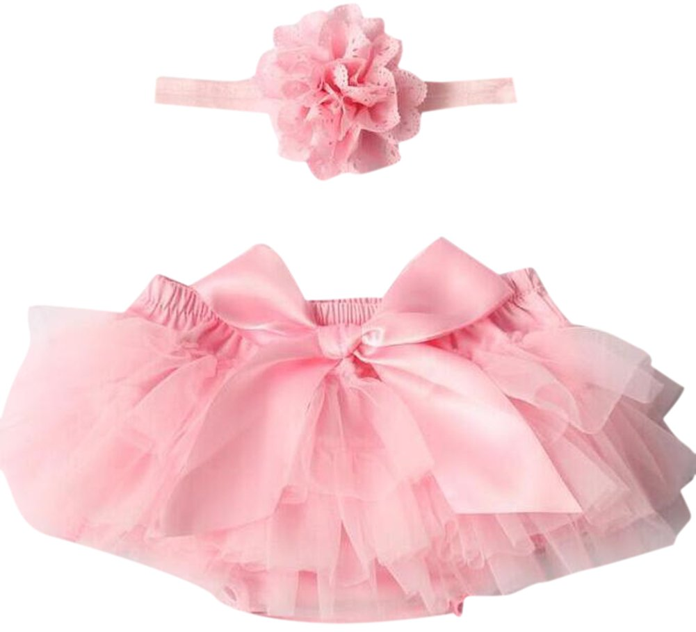 October Elf Baby Girl's 3 Cotton Lace Ruffle Chiffon Bloomer Headband Diaper Cover Pink) OE332PIL