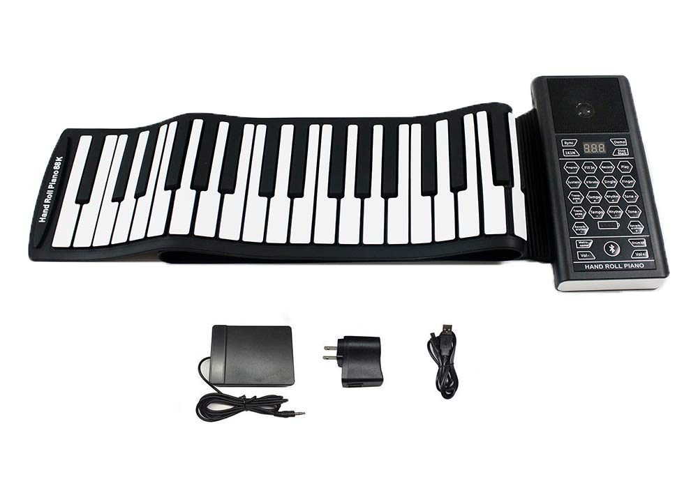 KMUSIC Roll Up Piano, Premium Grade Silicone, THICKENED KEYS, and Upgraded Built-in Amplifying Speakers - Educational Piano (DA88-88 Keys (Premium Model), Black) Kiker Technology