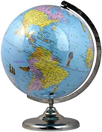 GeoKraft Educational Laminated 12 Inch Cartography Globe with Steel Finish Arc and Base / World Globe / Home Decor / Office Decor / Gift Item / Birthday Gift