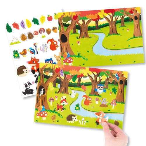 Baker Ross Woodland Animal Sticker Scenes for Kids Perfect for Children's Arts, Crafts and Decorating for Boys and Girls (Pack of 4)