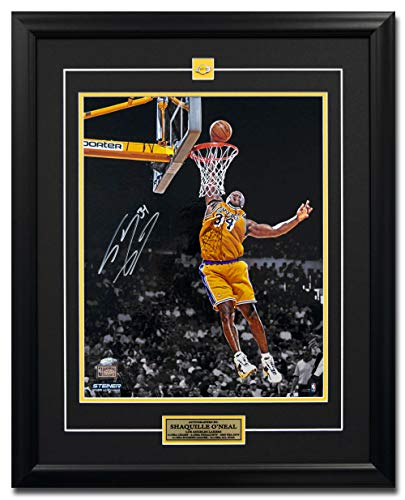 Autographed Slam Dunk - AJ Sports World Shaquille O'Neal Los Angles Lakers Autographed Slam Dunk 25x31 Frame: Steiner