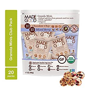 MadeGood Granola Minis Club Pack (20 ct, 0.85 oz. each); 10 Bags Chocolate Chip and 10 Bags Mixed Berry Granola Minis; School-Safe, Vegan, Gluten-Free, Allergy-Friendly, Organic, Non-GMO Snacks