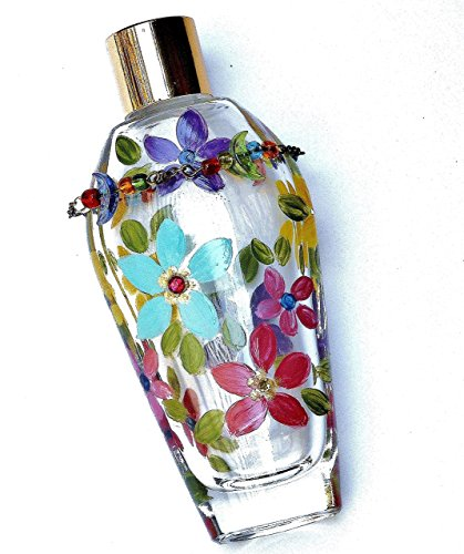 Refillable Glass Perfume Bottle with Colorful Hand Painted Flowers and Swarovski Crystal (Swarovski Medium Flower)